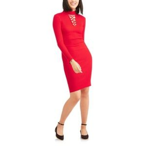 Red Knit Dress with Tie-Up Detail (S)